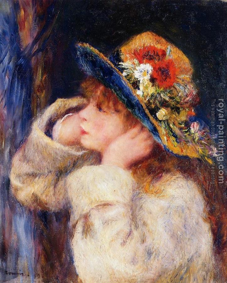 Pierre Auguste Renoir : Young Girl in a Hat Decorated with Wildflowers